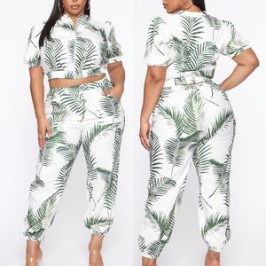 Vacation In Cabo Tropical Pant Set - Cream/Combo